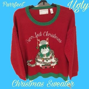 Sweaters - Christmas Sweater Cat Themed Women's Plus Size